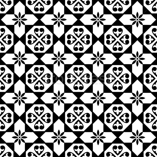 Spanish tiles pattern, Moroccan and Portuguese tile seamless design in black and white - Azulejo Stock photo © RedKoala