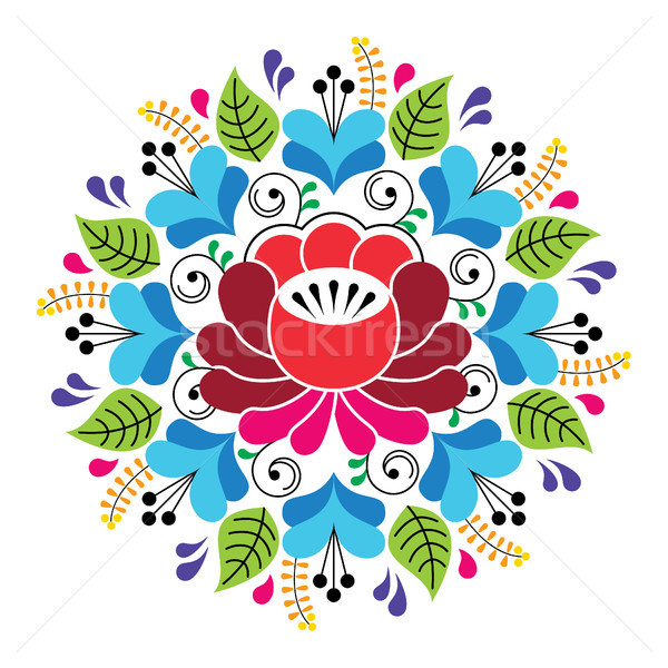 Russian inspired folk art pattern - colorful floral composition Stock photo © RedKoala