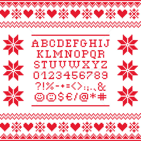 Cross stitch uppercase alphabet with numbers and symbols pattern, embroidery design  Stock photo © RedKoala