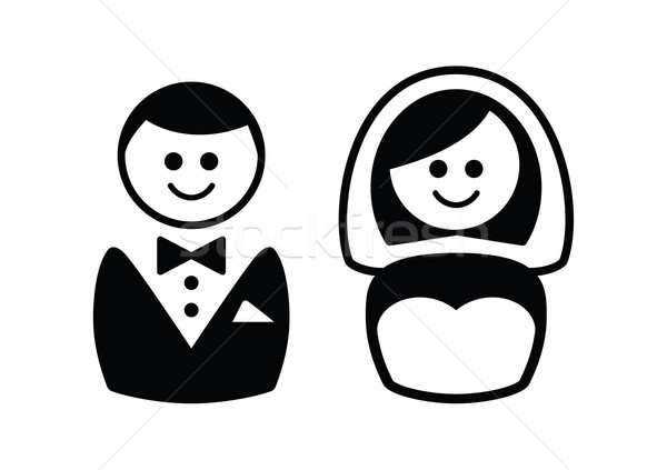 Stock photo: Married couple icons - groom and bride
