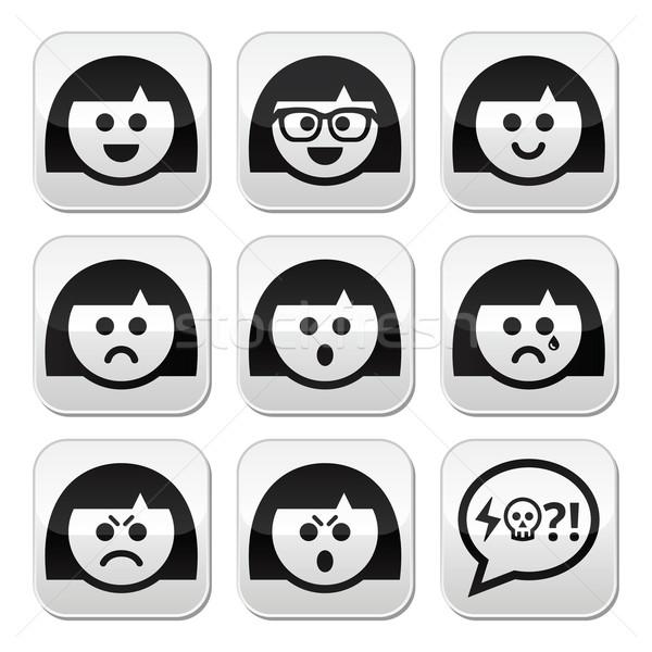 Smiley girl or woman faces, avatar vector buttons set Stock photo © RedKoala