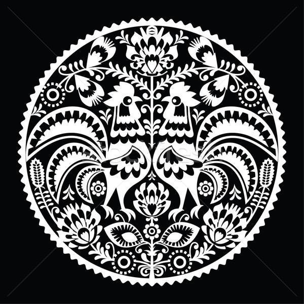 Polish folk art embroidery pattern with roosters - wzory lowickie, wycinanki Stock photo © RedKoala