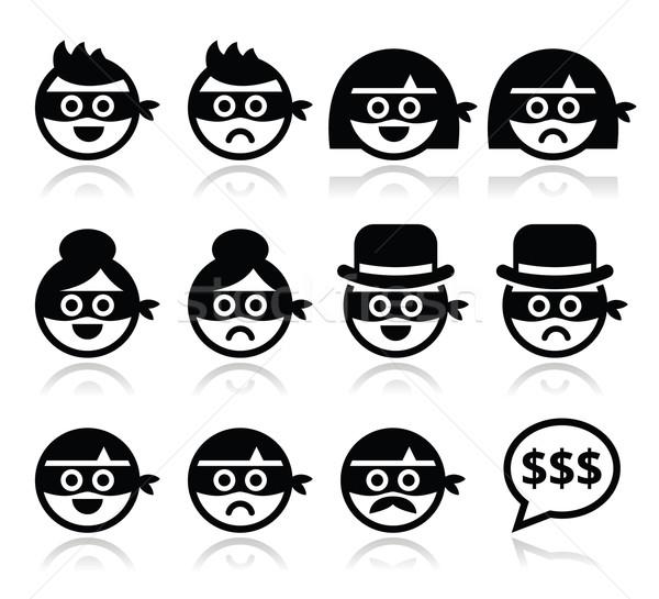 Tolvaj férfi nő arcok maszkok ikon szett Stock fotó © RedKoala