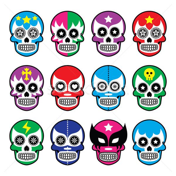 Lucha Libre - sugar skull masks icons  Stock photo © RedKoala