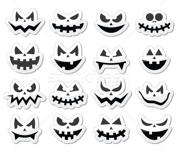 Scary Halloween pumpkin faces icons set Stock photo © RedKoala