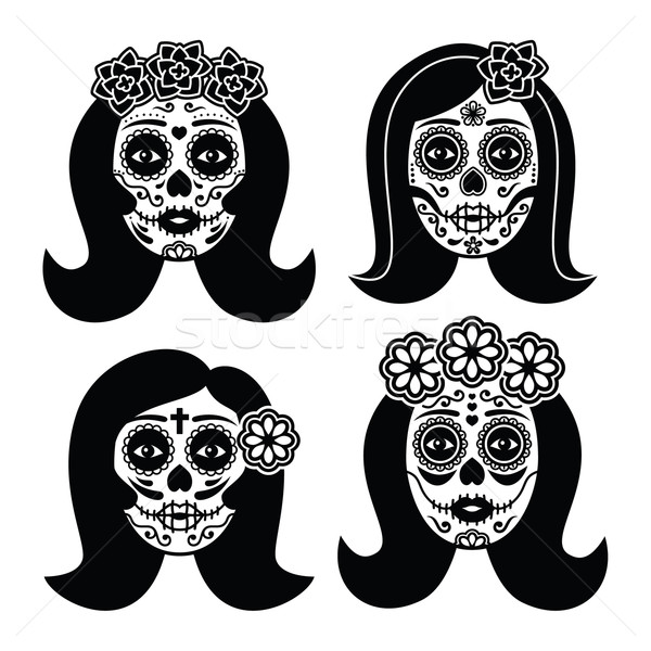 Mexican La Catrina - Day of the Dead girl skull    Stock photo © RedKoala