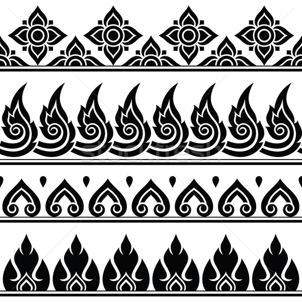 Seamless Thai pattern, repetitive design from Thailand - folk art style Stock photo © RedKoala