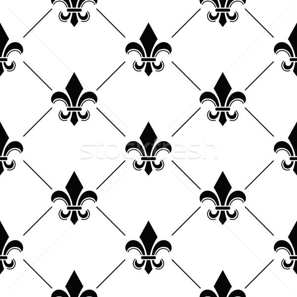 フランス語 ダマスク織 黒 パターン ベクトル 反復的な ストックフォト © RedKoala