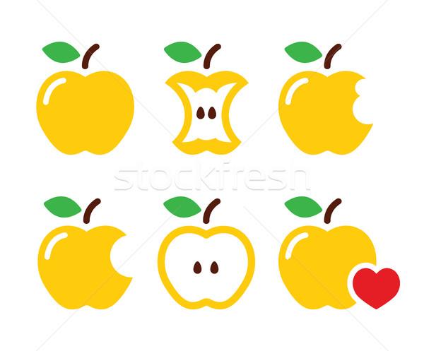 Amarillo manzana núcleo mitad vector iconos Foto stock © RedKoala