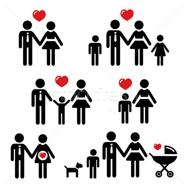Famille noir propre icônes parents enfants Photo stock © RedKoala