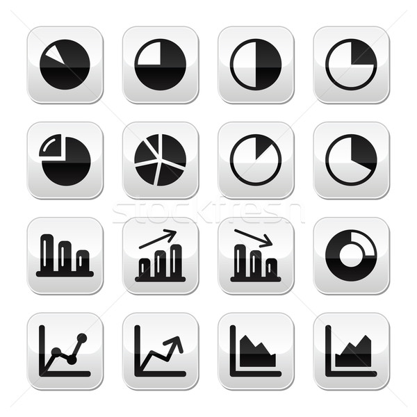 Chart graph black buttons set for infographics Stock photo © RedKoala