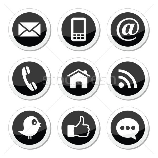 Contact, web, blog and social media round icons - twitter, facebook, rss Stock photo © RedKoala