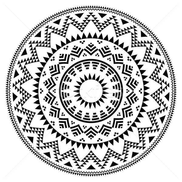 Tribal folk aztec geometric pattern in circle Stock photo © RedKoala