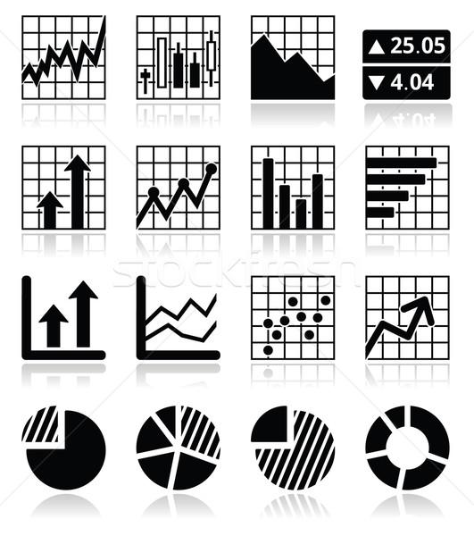 Stock market analysis, chart and graph icons set  Stock photo © RedKoala