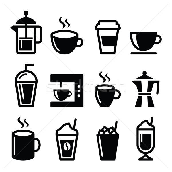 Coffee drinks, coffee makers icons set Stock photo © RedKoala