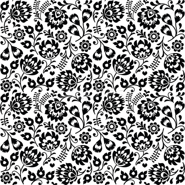Seamless Polish folk art black floral pattern - wzory lowickie, wycinanki  Stock photo © RedKoala