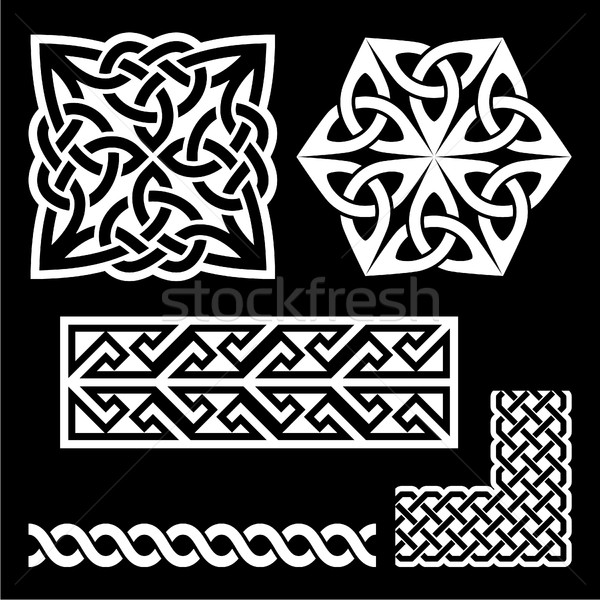 Celtic Irish And Scottish White Patterns Knots Braids Key