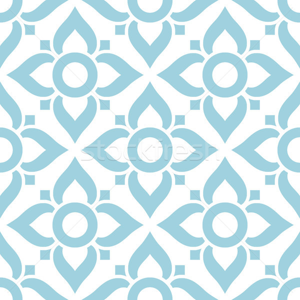 Thai seamless pattern with flowers - tiled design in blue on white background Stock photo © RedKoala