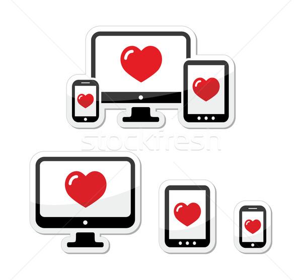 Responsive design icons - monitor, cell/mobile phone, tablet Stock photo © RedKoala