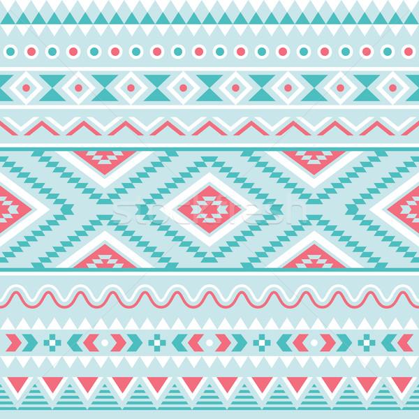 Tribal seamless pattern, aztec blue and pink background Stock photo © RedKoala