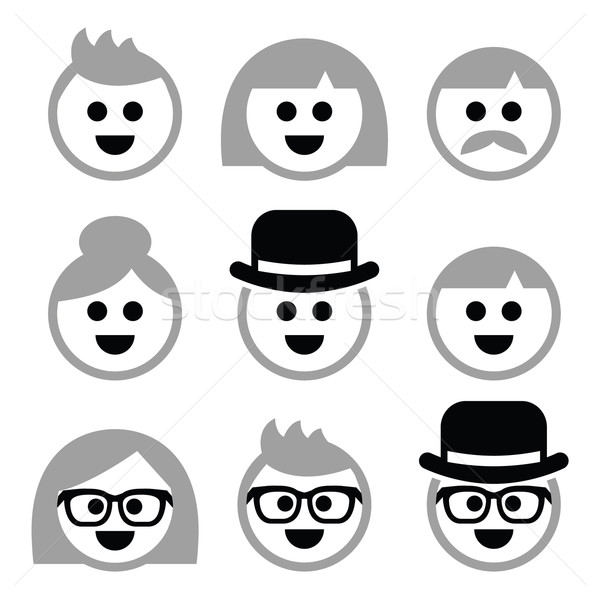 People with grey hair, seniors, old people icons set Stock photo © RedKoala