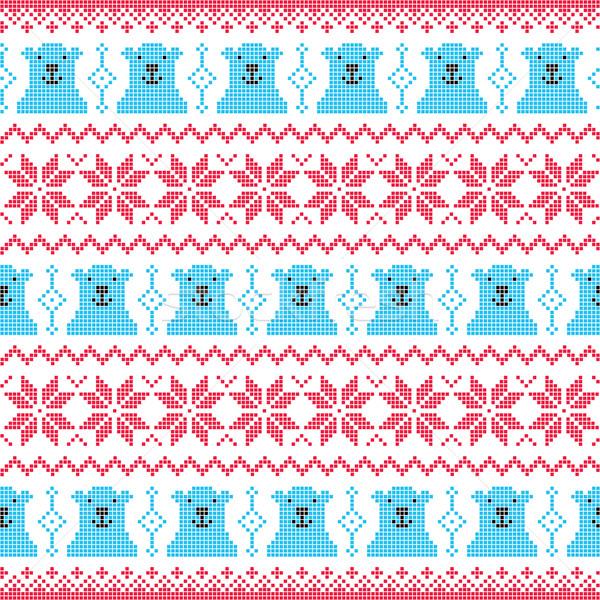 Tél karácsony piros medve végtelenített pixeles Stock fotó © RedKoala