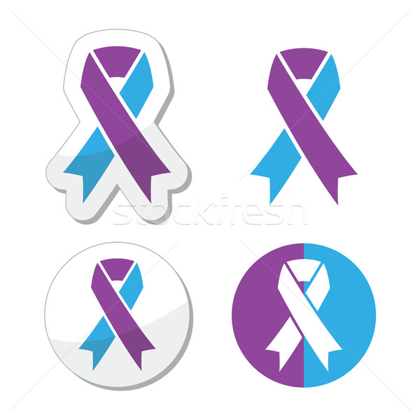 Paars Blauw lint bewustzijn symbool geïsoleerd Stockfoto © RedKoala