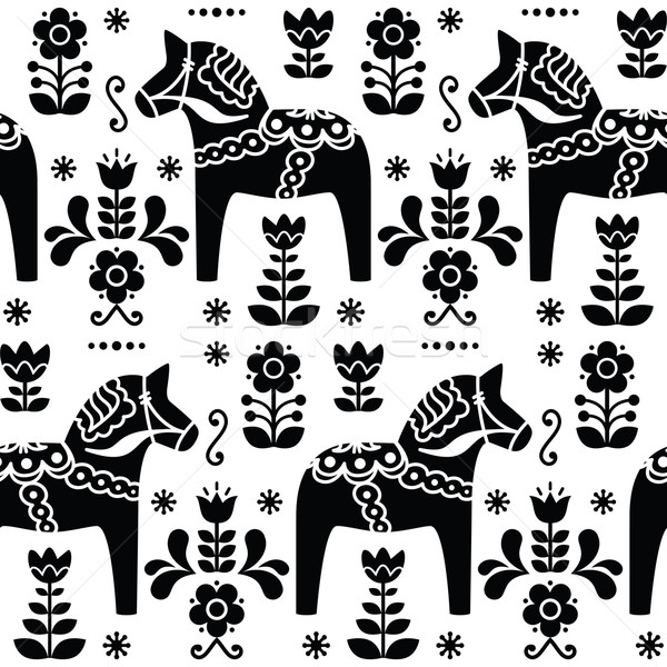 Swedish folk art Dala or Daleclarian horse seamless pattern in black  Stock photo © RedKoala