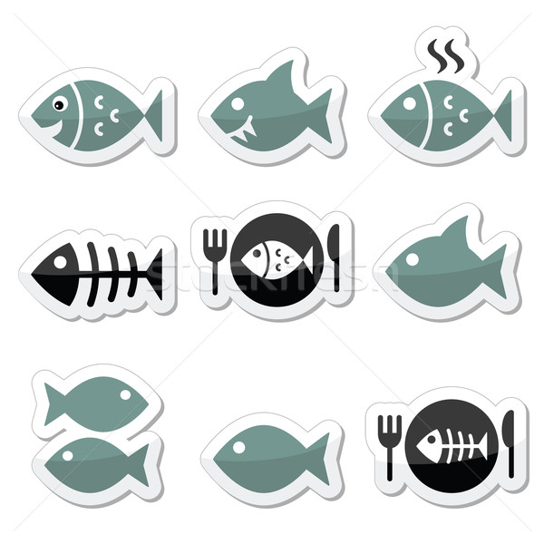 Vis plaat skelet vector iconen Stockfoto © RedKoala