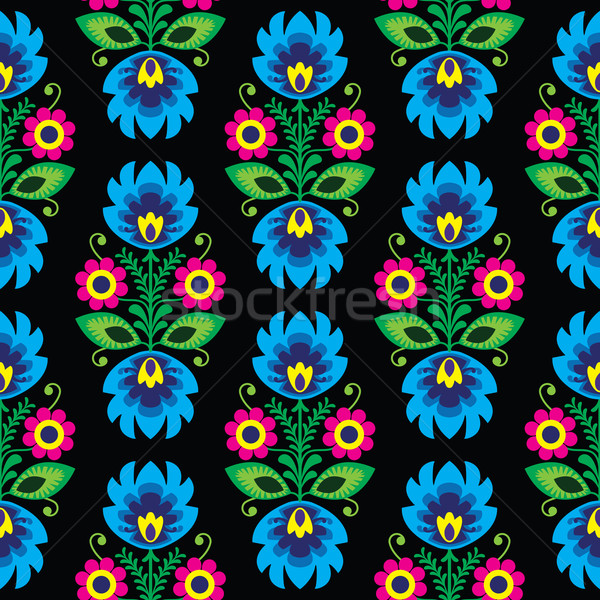 Seamless traditional floral Polish folk art pattern on black Stock photo © RedKoala