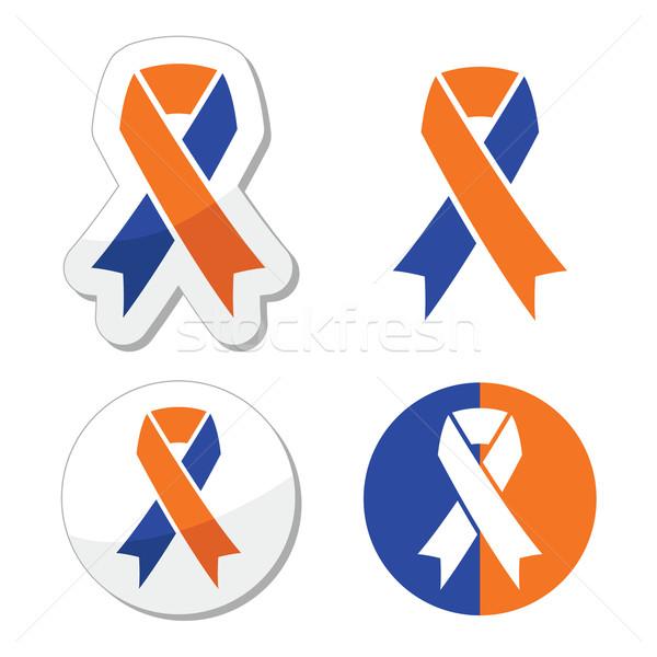 Blauw oranje familie bewustzijn iconen Stockfoto © RedKoala
