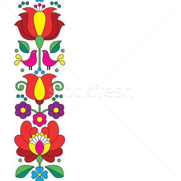 Seamless Kalocsai embroidery - Hungarian floral folk art pattern Stock photo © RedKoala