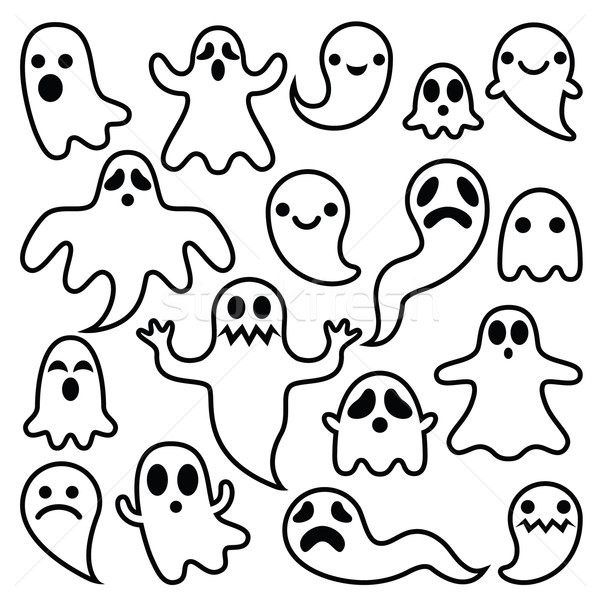 Stock photo: Scary ghosts design, Halloween characters  icons set