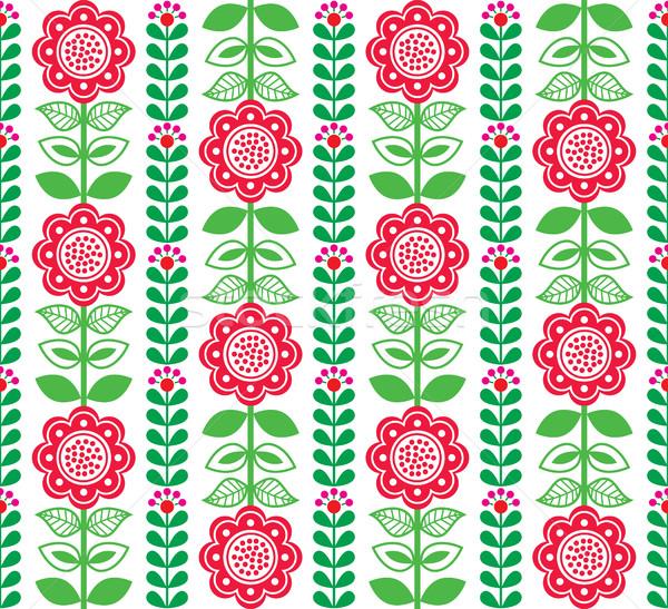 Finnish inspired seamless folk art pattern - Scandinavian, Nordic style    Stock photo © RedKoala
