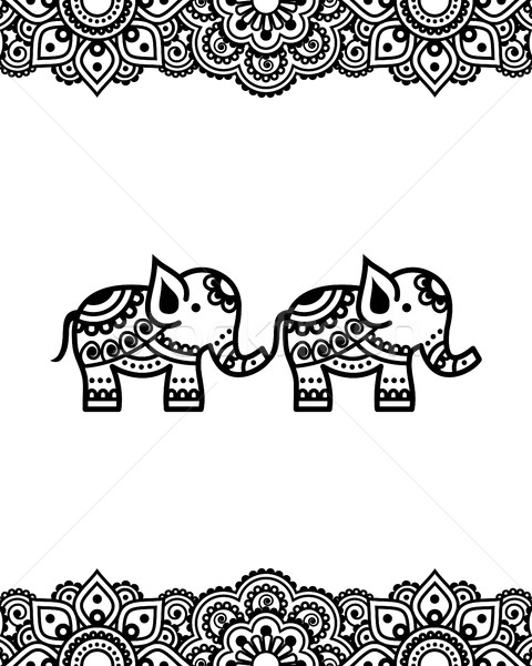 Mehndi, Indian Henna tattoo design with elephants - greetings card, poster, lace ornament Stock photo © RedKoala