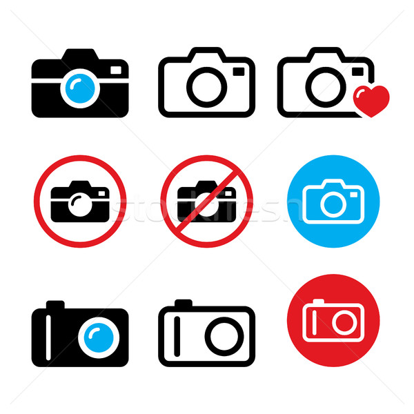 Camera, taking photos, no camera sign vector icons set Stock photo © RedKoala