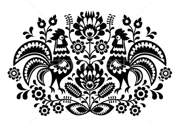 Polish floral embroidery with roosters - traditional folk pattern Stock photo © RedKoala
