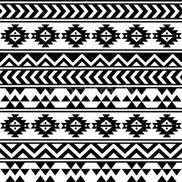 Aztec tribal seamless black and white pattern Stock photo © RedKoala