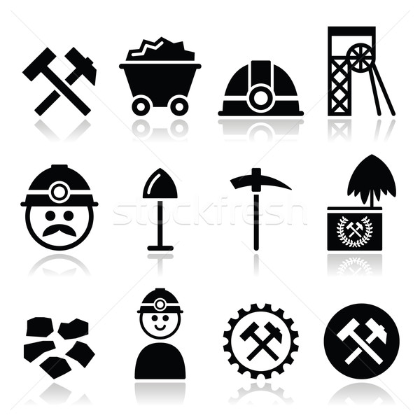 Coal mine, miner icons set Stock photo © RedKoala