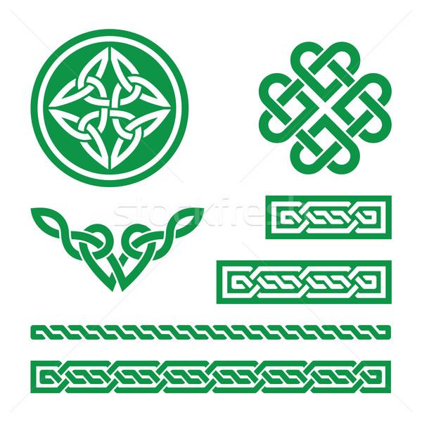 Celtic green knots, braids and patterns - vector  Stock photo © RedKoala