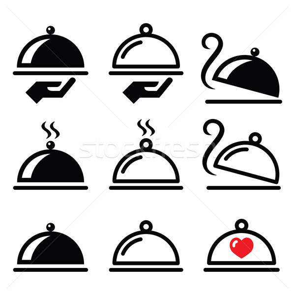 Meal, dinner, food platter icons set  Stock photo © RedKoala