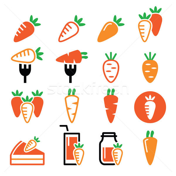 Carrot, carrot meals - cake, juice vector icons set  Stock photo © RedKoala