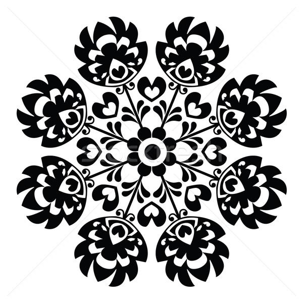Polish round black folk art pattern - Wzory Lowickie, Wycinanka Stock photo © RedKoala