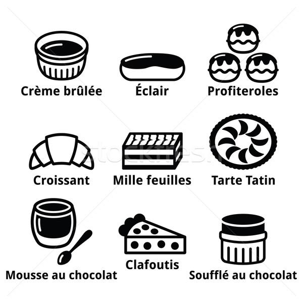 フランス語 デザート ペストリー ケーキ アイコン チョコレートムース ストックフォト © RedKoala