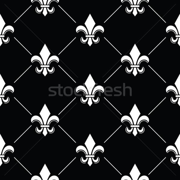 French Damask background - Fleur de lis black white pattern on black Stock photo © RedKoala