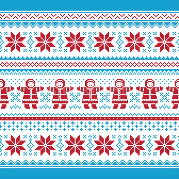Natal vetor cartão tradicional tricotado padrão Foto stock © RedKoala