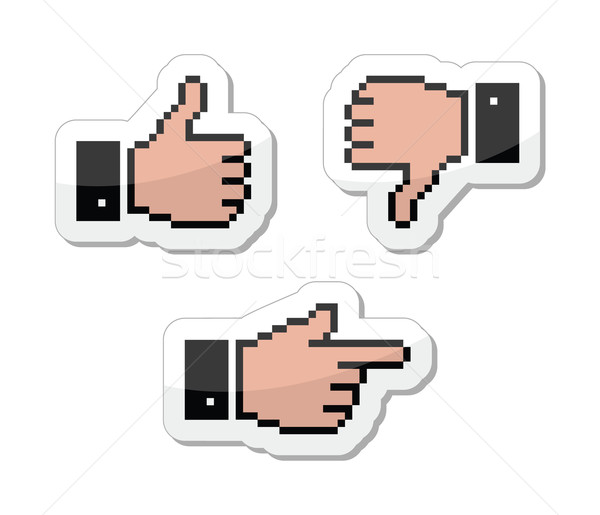 Pixel cursor icons - thumb up, like it, pointing hand Stock photo © RedKoala