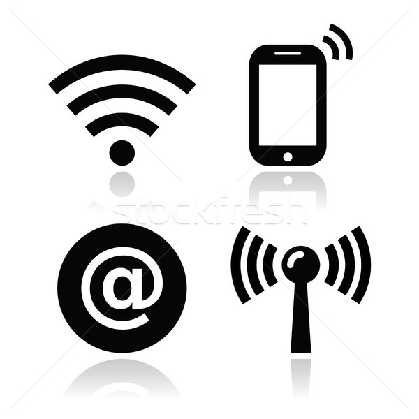 Wifi network, internet zone icons set Stock photo © RedKoala