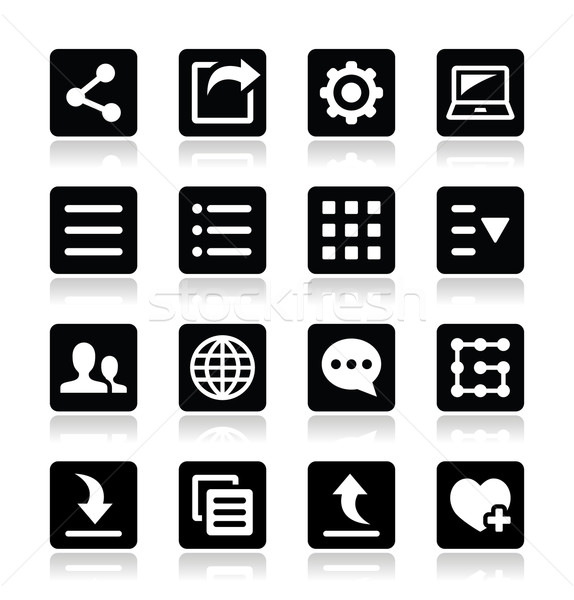 Menu settings tools icons set Stock photo © RedKoala