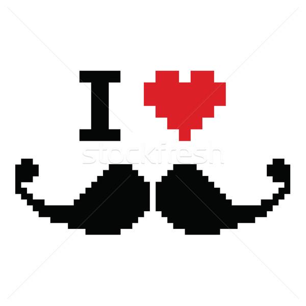 Szeretet bajusz pixeles retro felirat bajusz Stock fotó © RedKoala